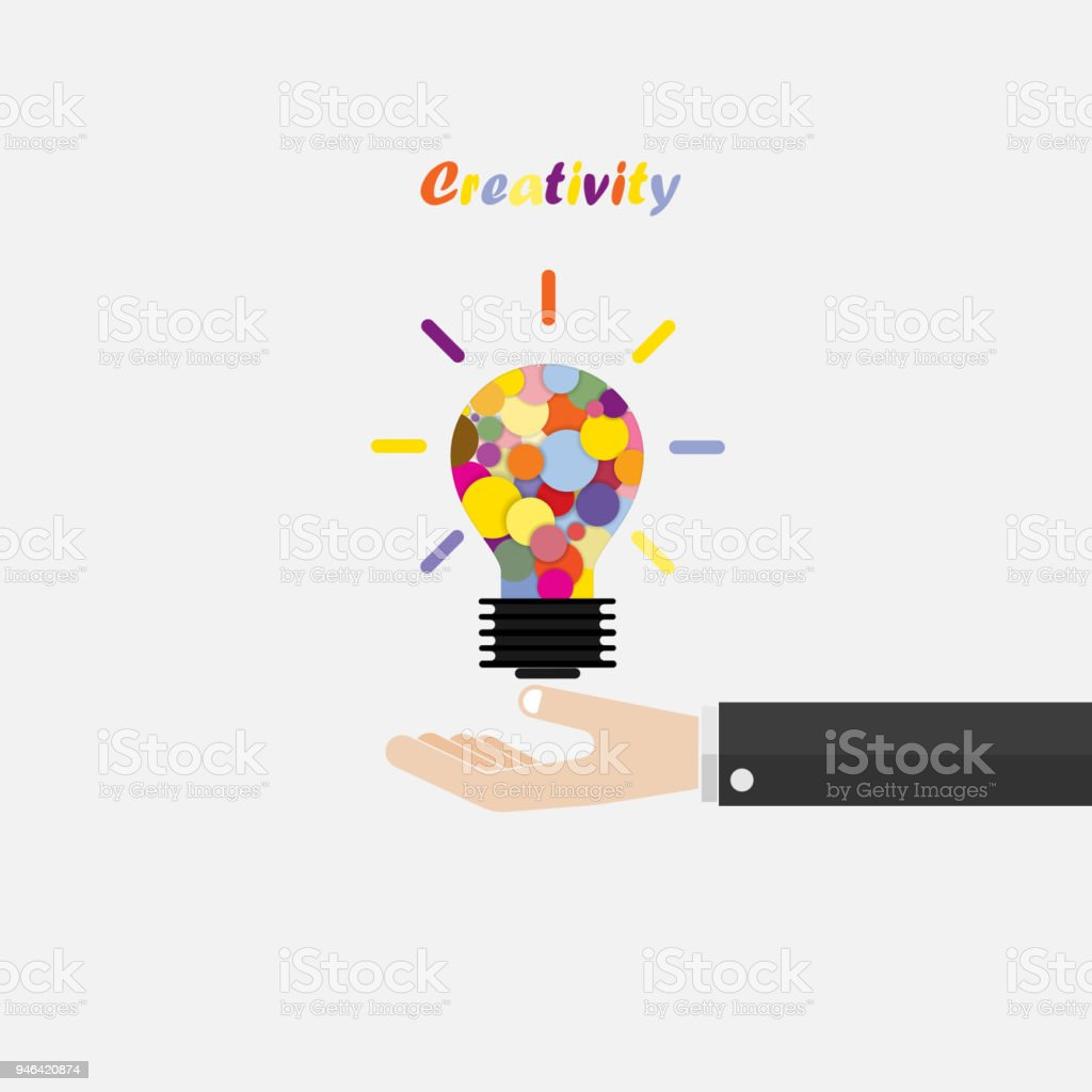 Licht Idee Hand En Creatieve Lamp Licht Idee Abstract Vector Ontwerpsjabloon