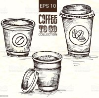 Hand Drawn Cup Of Coffee To Go stock vector art 495145894 ...