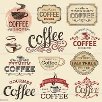 Hand Drawn Vintage Coffee Labels stock vector art ...