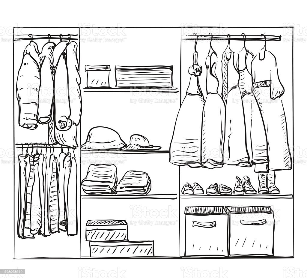 Hand Drawn Wardrobe Sketch Clothes For Baby Girl Stock