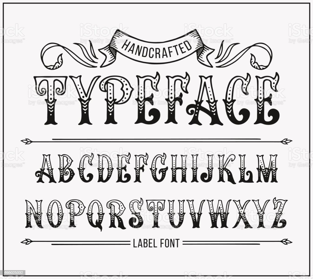 Calligraphy Fonts Victorian Handcrafted Letters With Victorian Decor Vector Label Font Stock