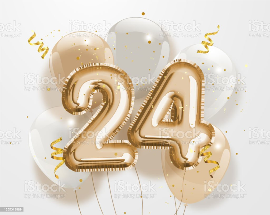 Happy 24th Birthday Gold Foil Balloon Greeting Background Stock Illustration Download Image Now Istock