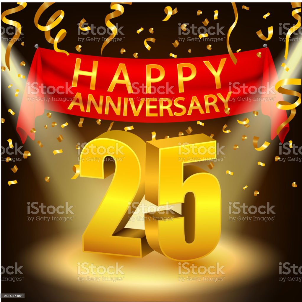 Happy 25th Anniversary Celebration With Golden Confetti And Spotlight Stock Illustration Download Image Now Istock