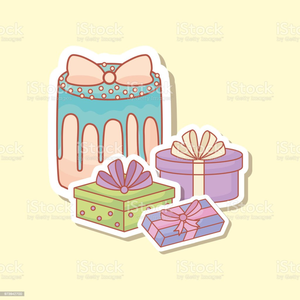 Geburtstag Postkarte Happy Birthday Postcard With Cake And Gifts Vector Illustration Design