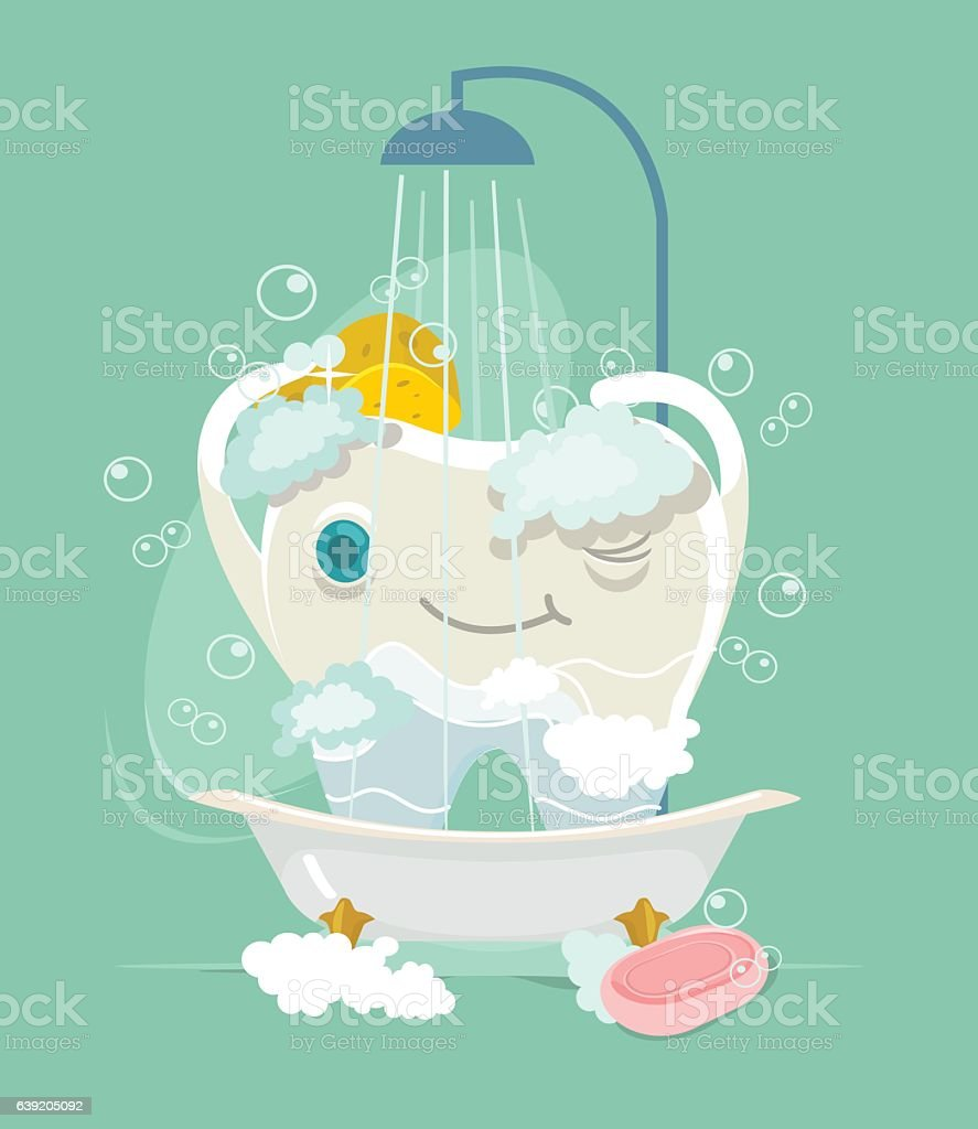 Take Badezimmer Happy Tooth Character Take Shower Vector Flat Cartoon Illustration