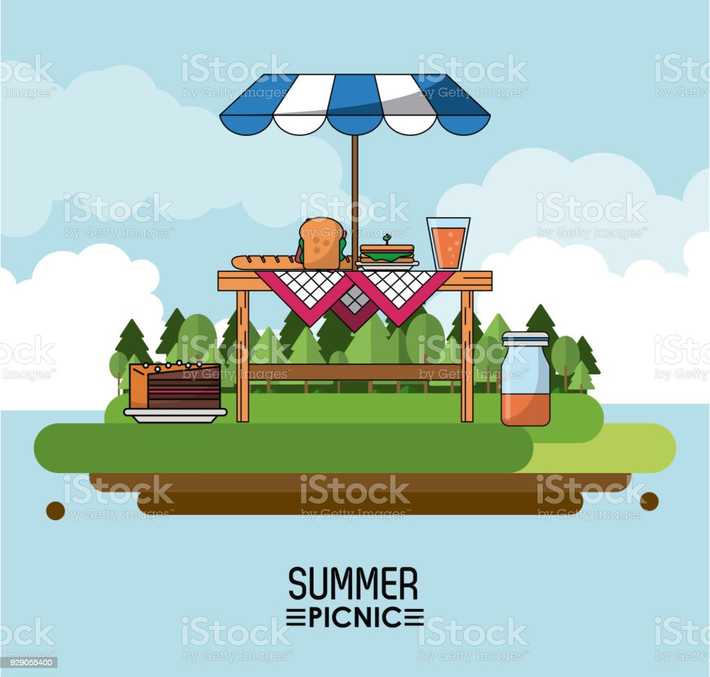 Poster Exterieur Heaven Background Poster Of Summer Picnic With Outdoor Landscape Of