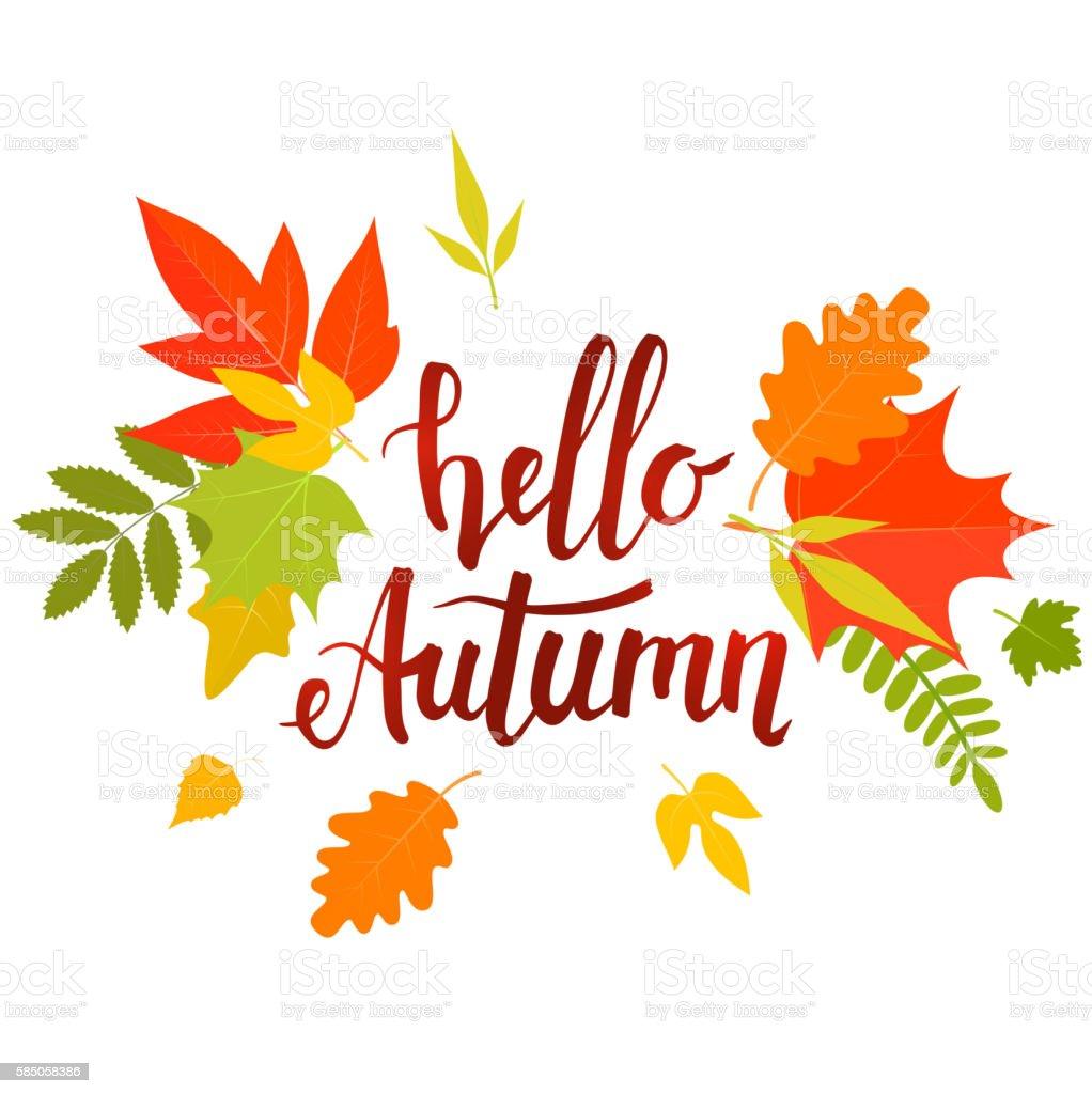 Hello Fall Wallpaper Hello Autumn Lettering Stock Vector Art 585058386 Istock
