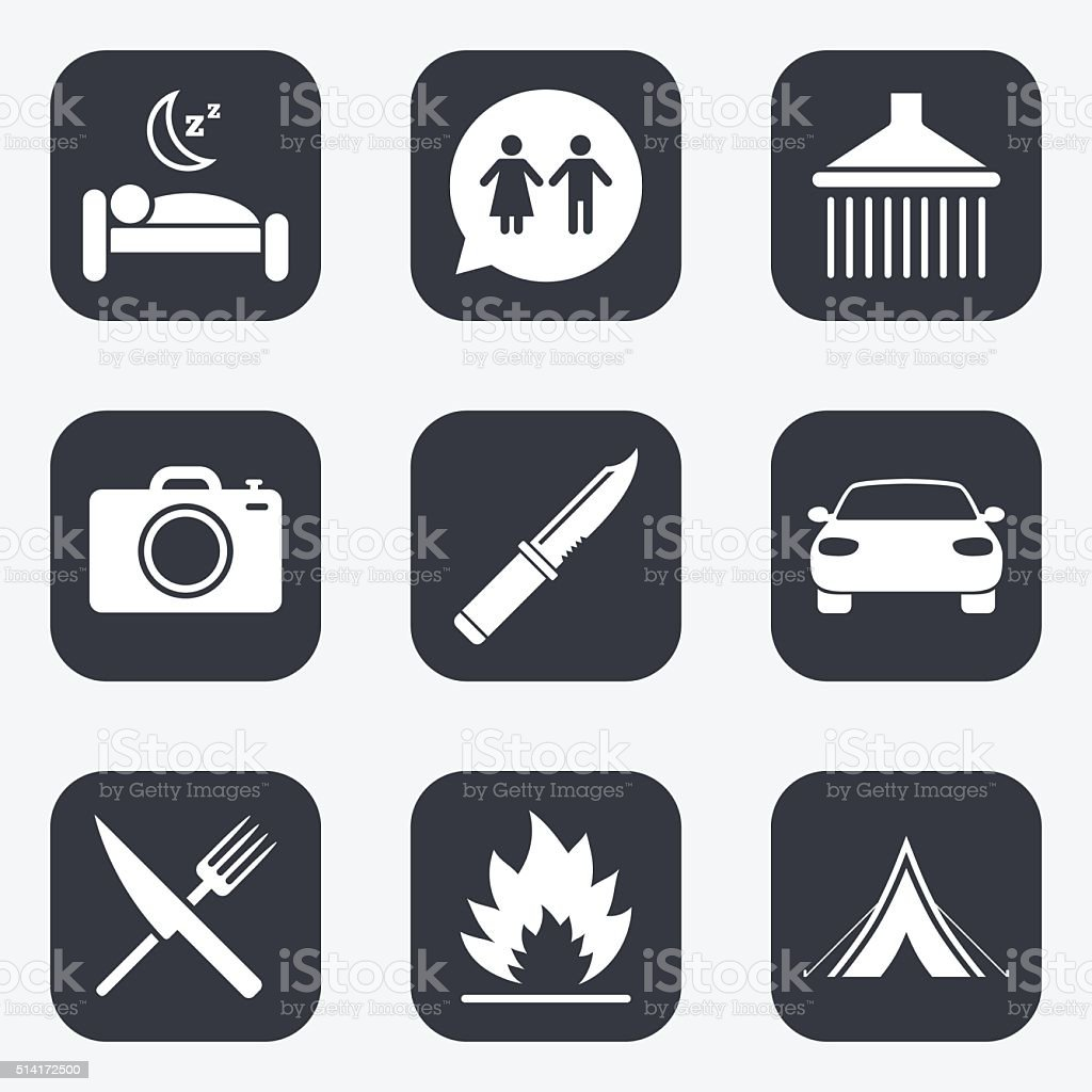 Mobile Dusche Camping Hiking Trip Icons Camping Shower And Wc Toilet Signs Tourist Tent