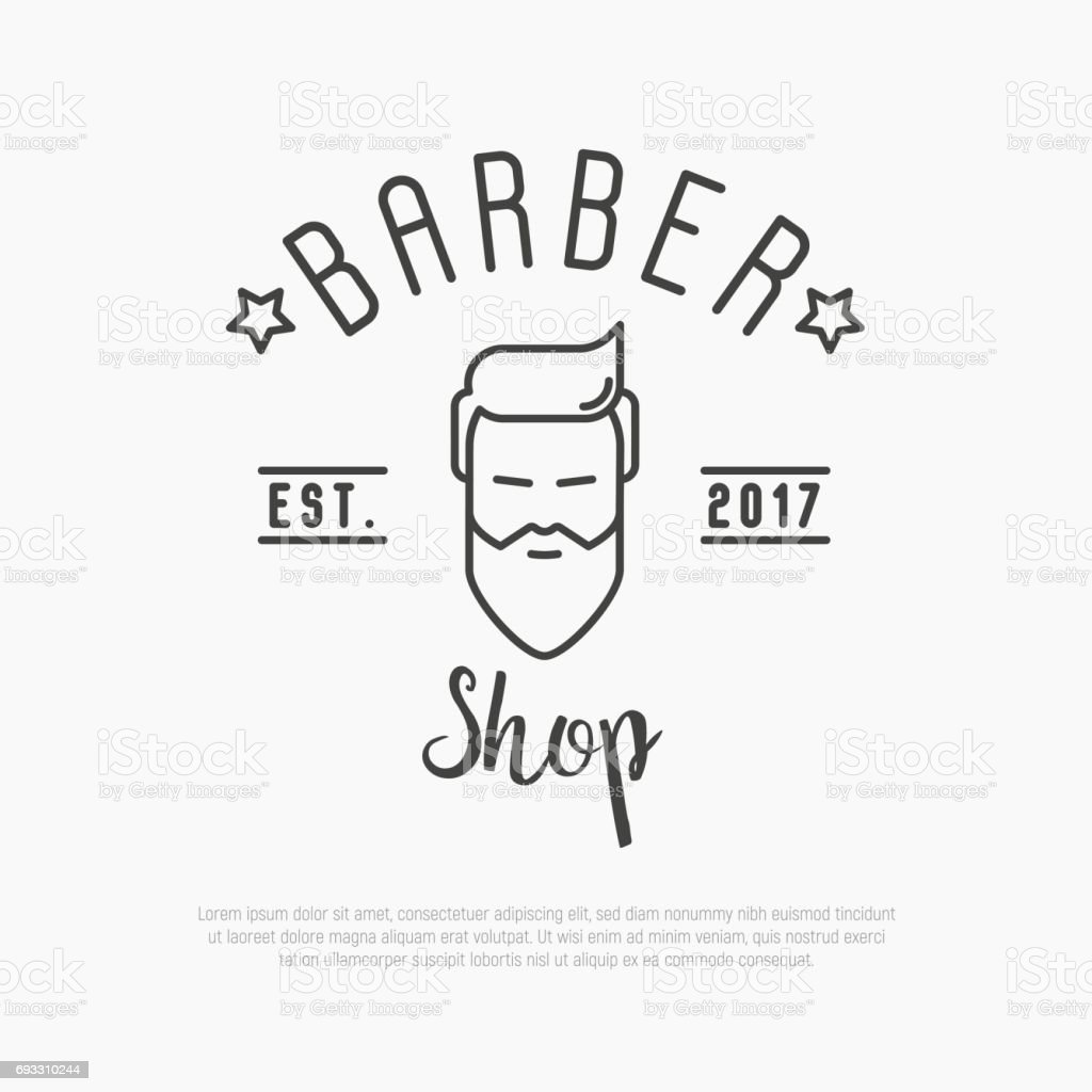 Logo Salon De Coiffure Hipster Icon For Barber Shop With Bearded Man Minimalistic Thin Line