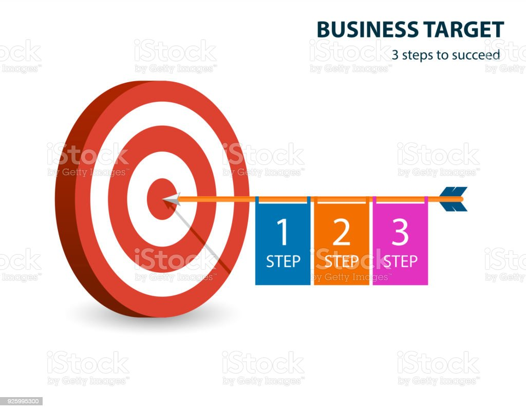 Business Step Infographic Template With Target And Dart Business Target 3 Steps