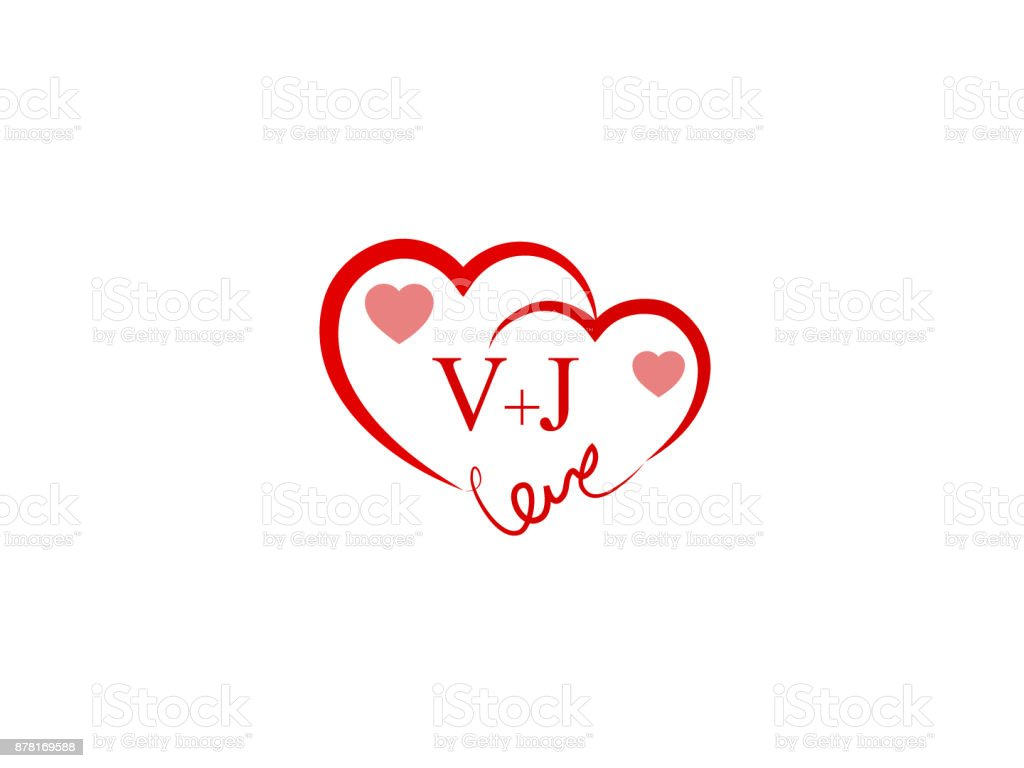 V J Vj Initial Wedding Invitation Love Icon Template Vector