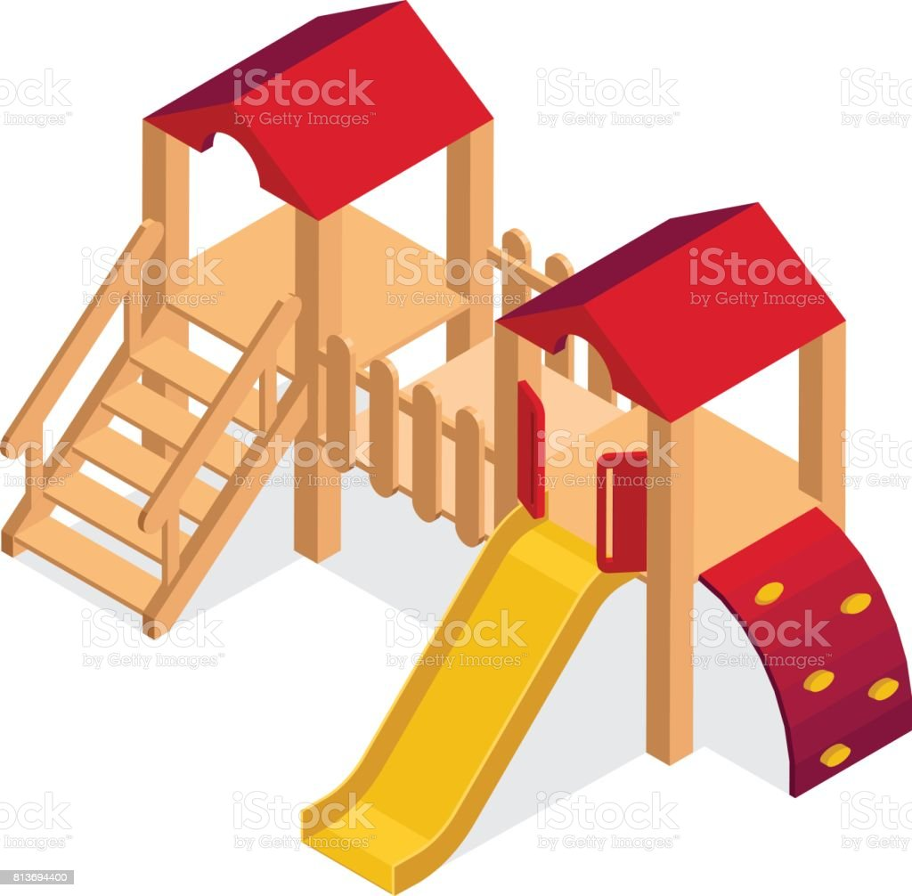 Kinder Rutsche Isometric Playground Building Element Kids Slide 3d Vector Icon