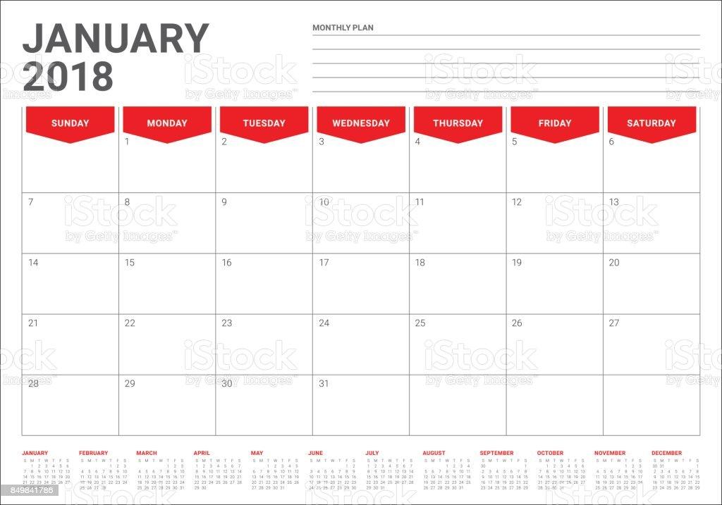 Business Calendar Format Business Calendar Download Business Calendar Templates January 2018 Calendar Planner Vector Illustration Stock