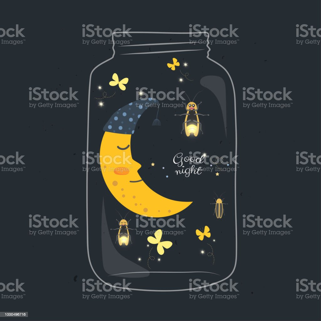 Firefly Jar Art Jar With Sleeping Smiling Moon And Firefly In The Night Stock