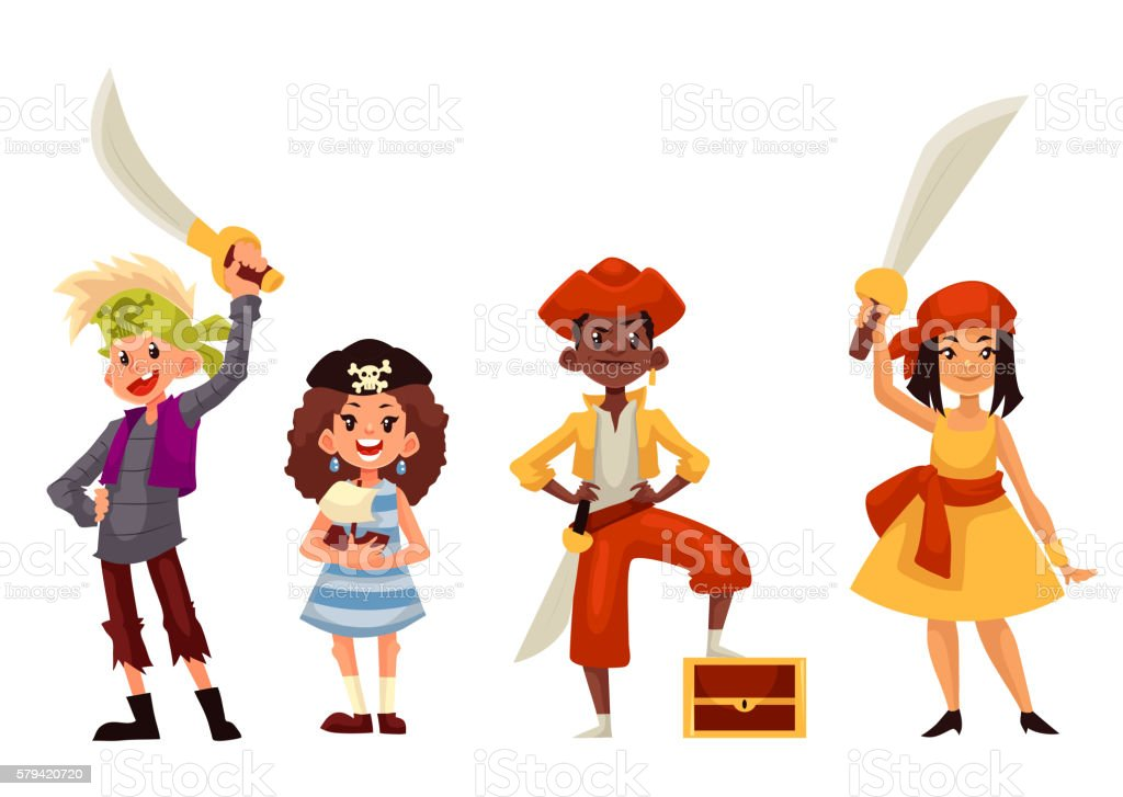Royalty Free Pirate Girl And Boy Character Silhouettes