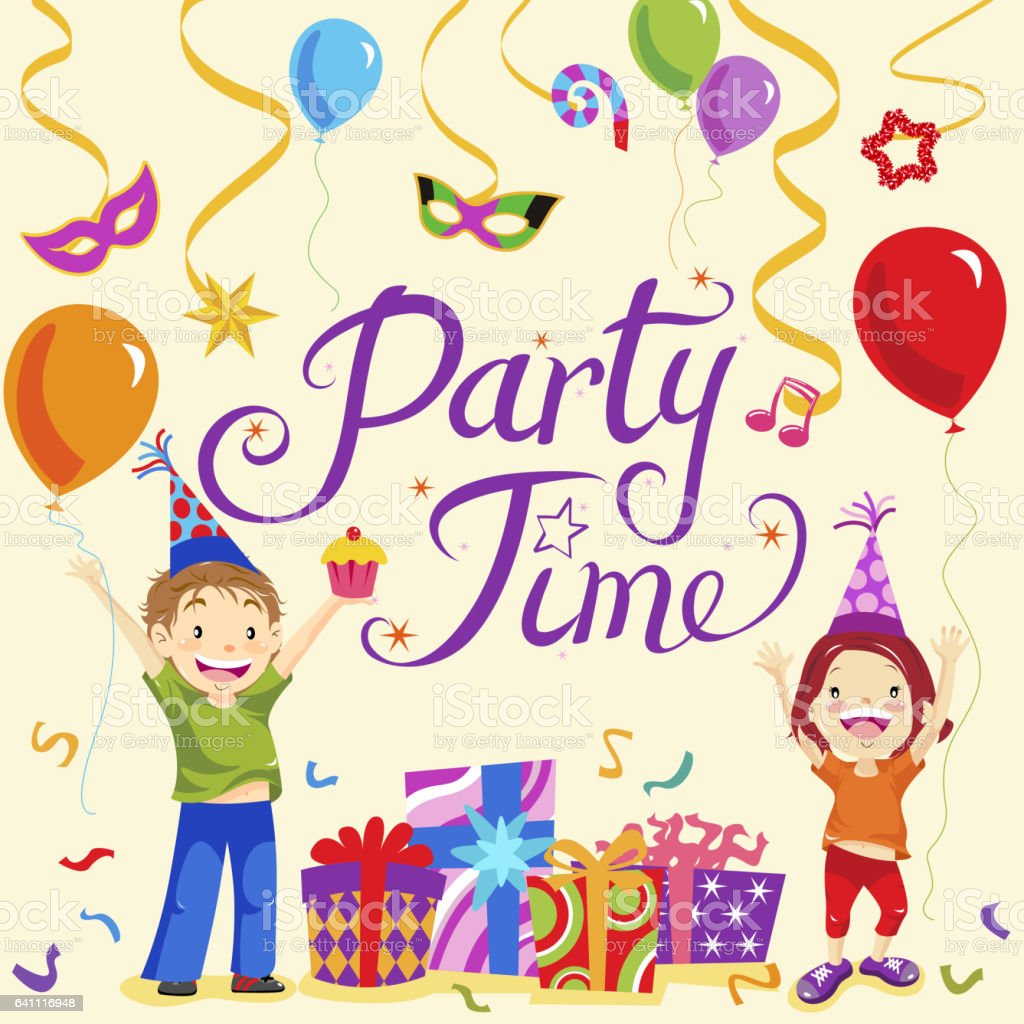Party Time Kids Party Time Stock Vector Art More Images Of Balloon Istock