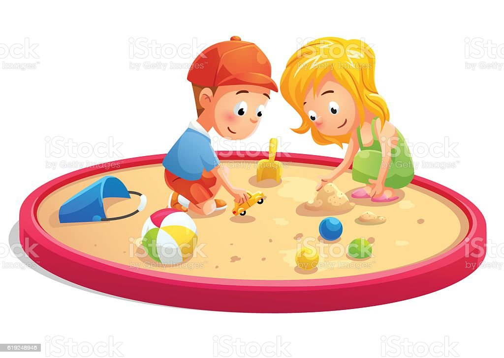 Kids Playing In Sandbox Cartoon Style Stock Vector Art