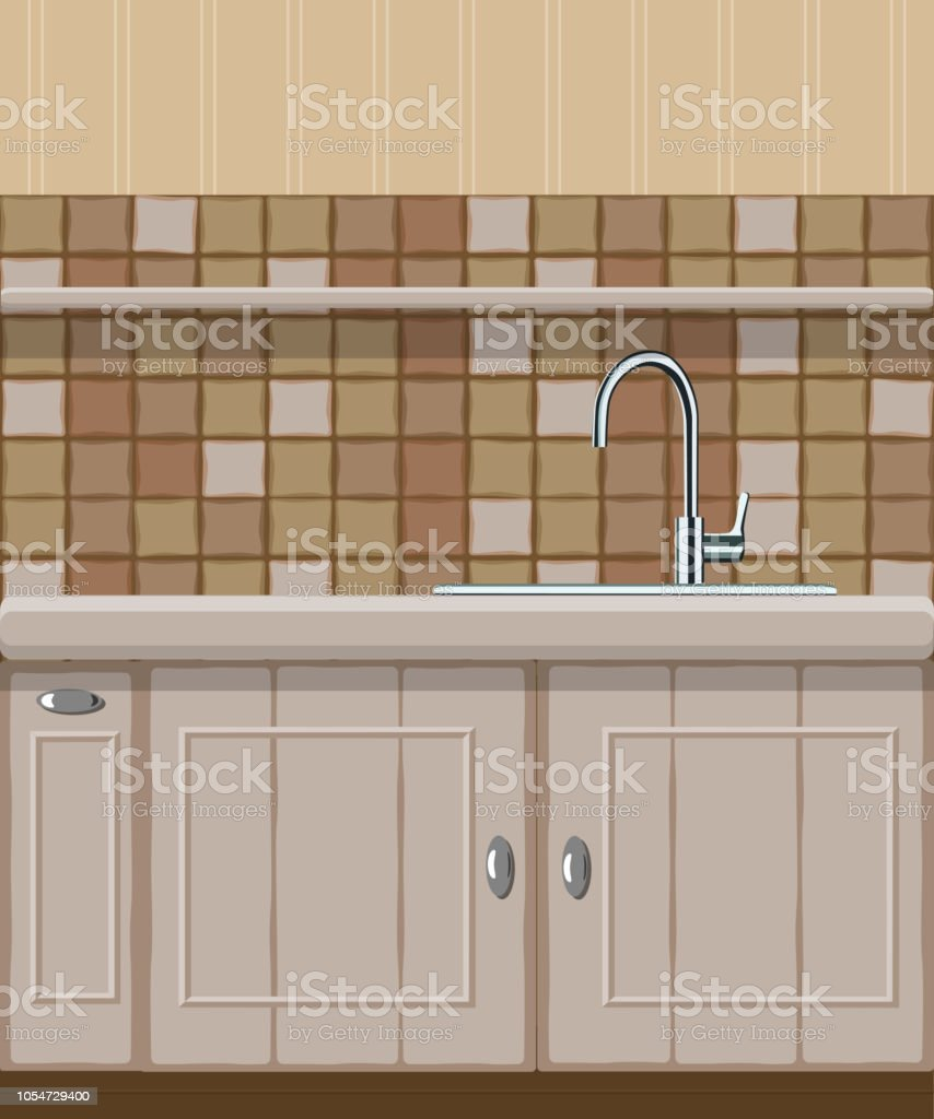 Arbeitsplatte Küche Mit Spüle Vector Illustration Of Kitchen Element With Sink