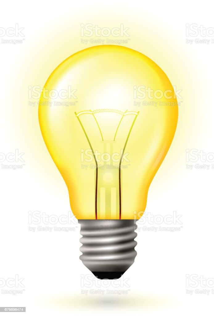 Light Bulb Glow Yellow Color Stock Illustration Download