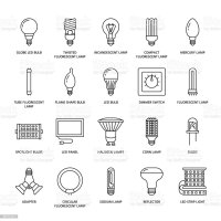 Light Bulbs Flat Line Icons Led Lamps Types Fluorescent ...