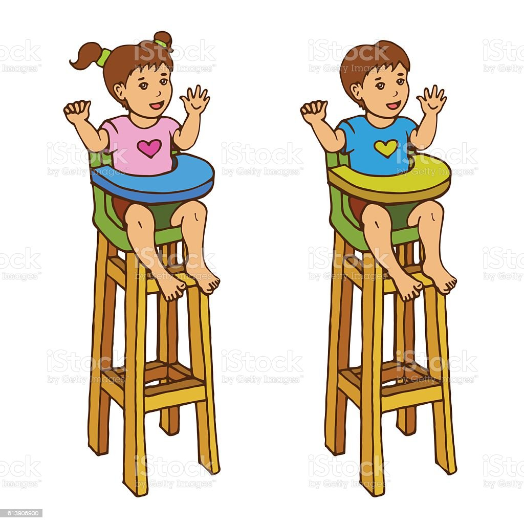 Sitz Stuhl Baby Two Kids Are Ready To Feeding Happy Baby Sit In High Chair