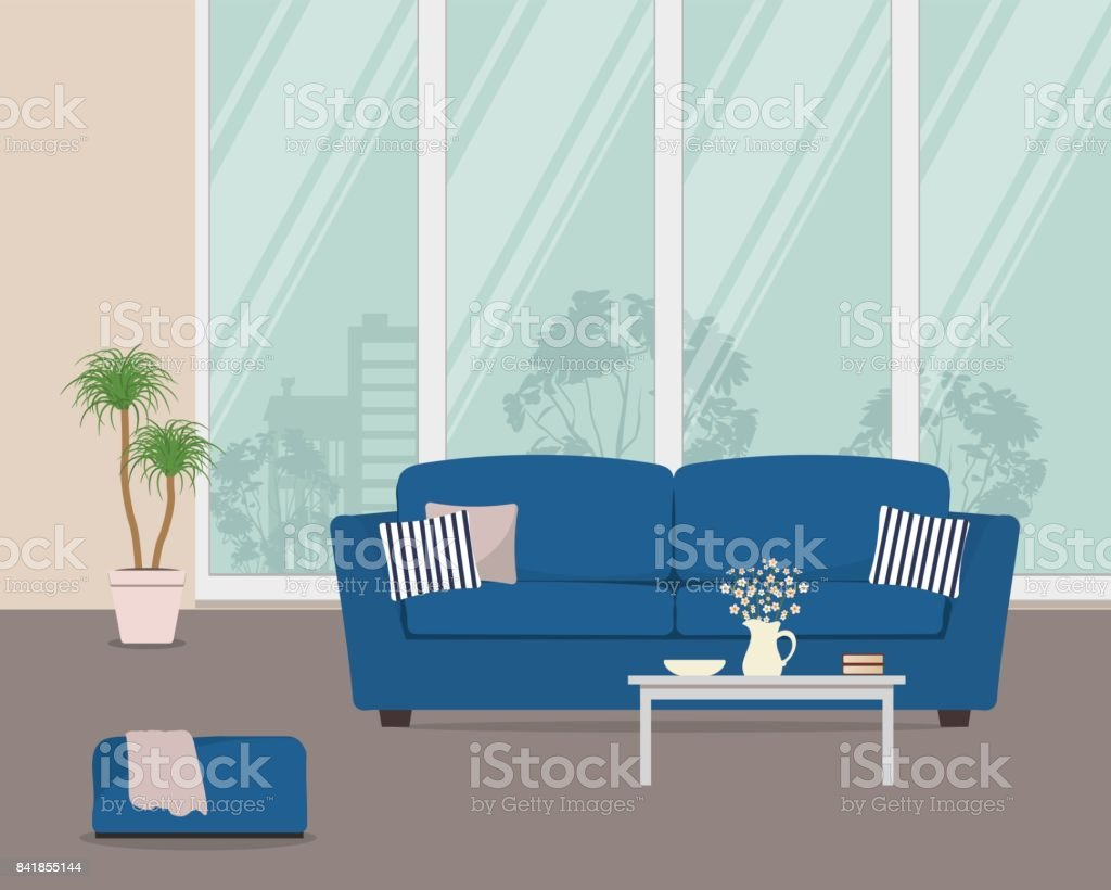 Salon Canapé Bleu Living Room With Blue Sofa And Pillows There Is Also A Big Window A