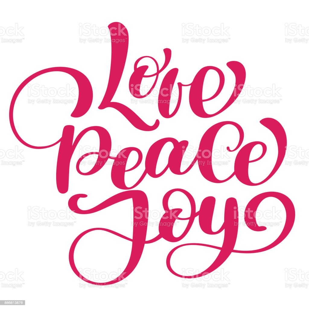 K Modern Calligraphy Love Peace Joy Christmas Quote Ink Hand Lettering Modern Brush