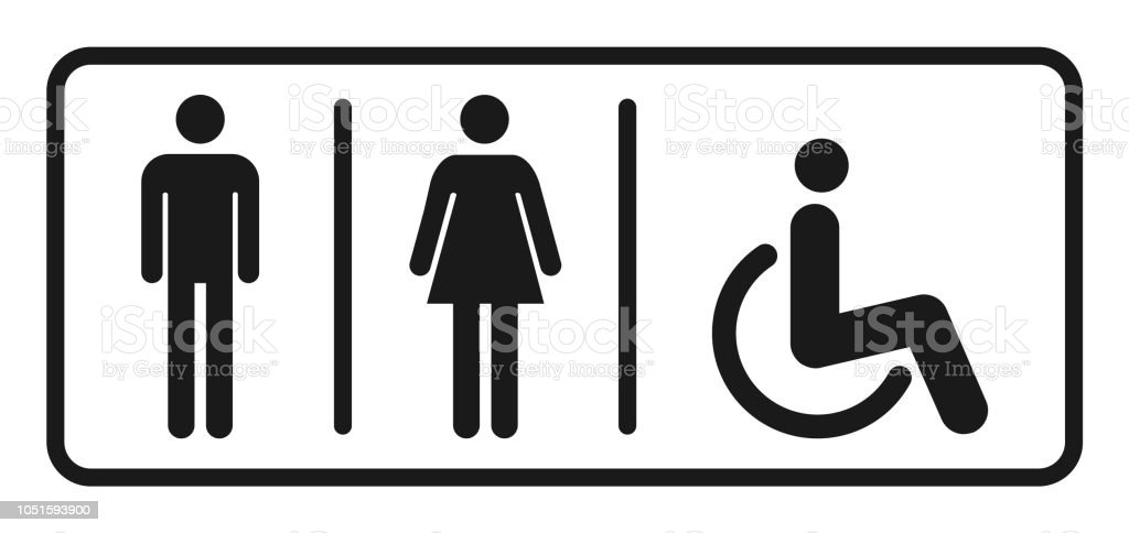 Wc Symbol Male And Female Toilet Icon Vector Filled Flat Sign Solid