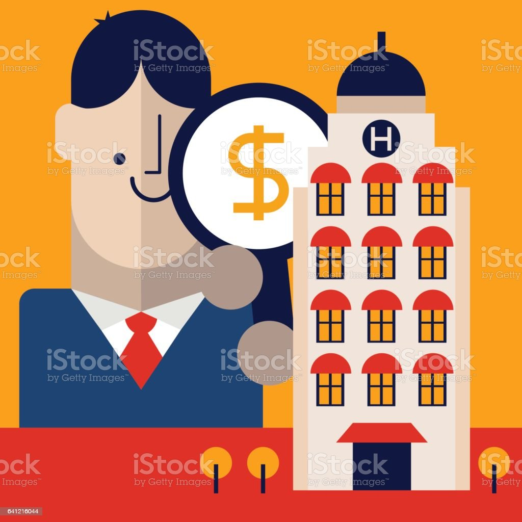 Hotel Preços Businessman Holding A Magnifying Glass With A Money Icon On It