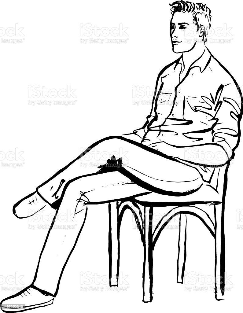 Man sitting in cafe vector art illustration