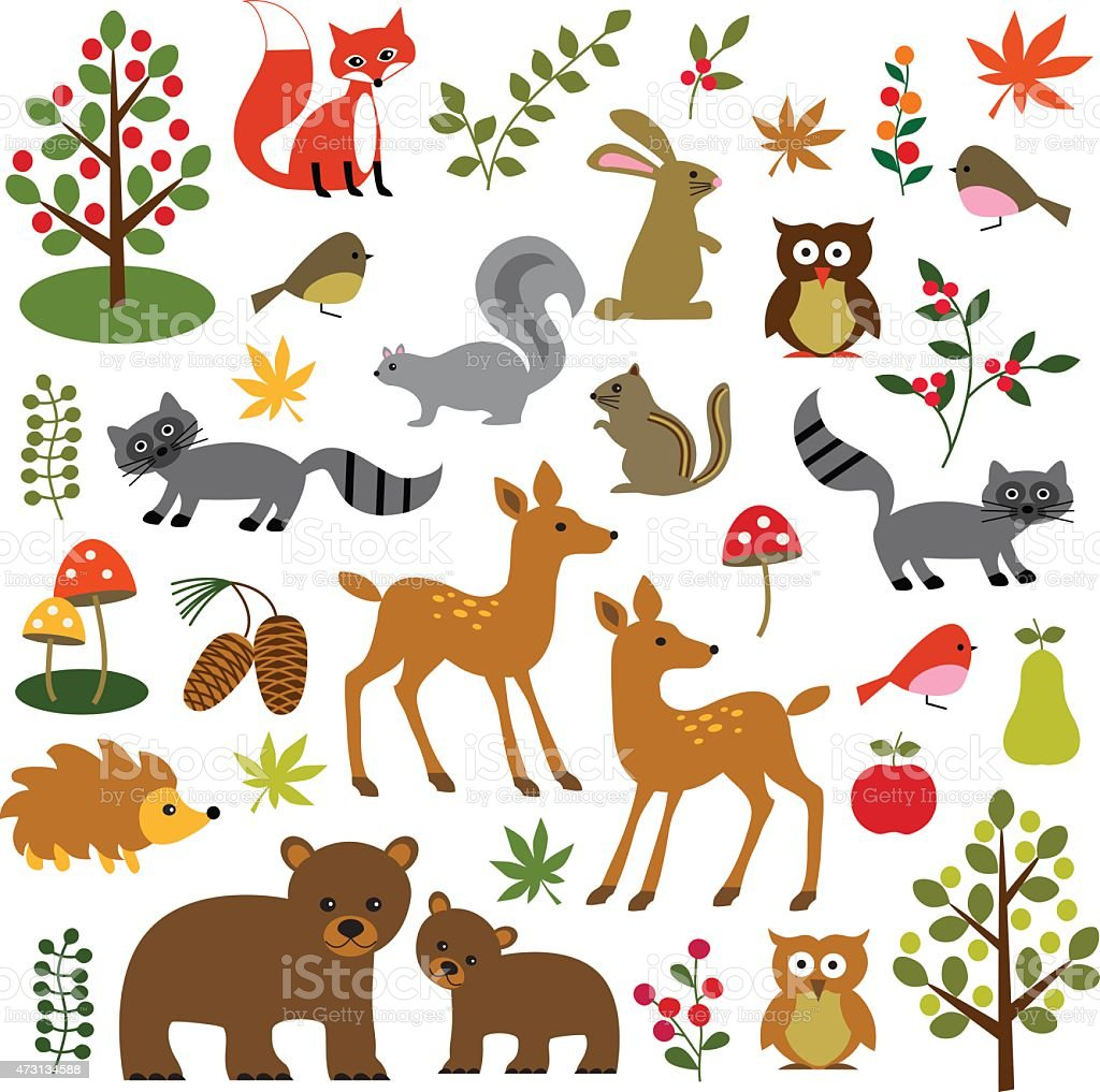 Fall Woodland Creatures Wallpaper 森の動物 のイラスト素材 473134588 Istock