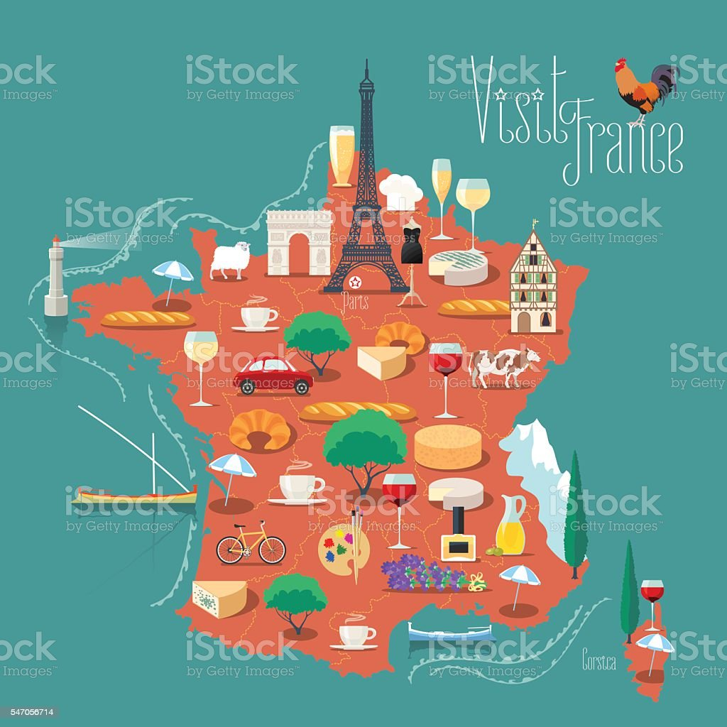 Design France Map Of France Vector Illustration Design Icons With French