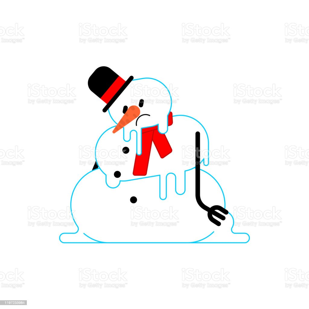 Melted Snowman Isolated Winter Is Ending End Of Christmas Vector Illustration Stock Illustration Download Image Now Istock