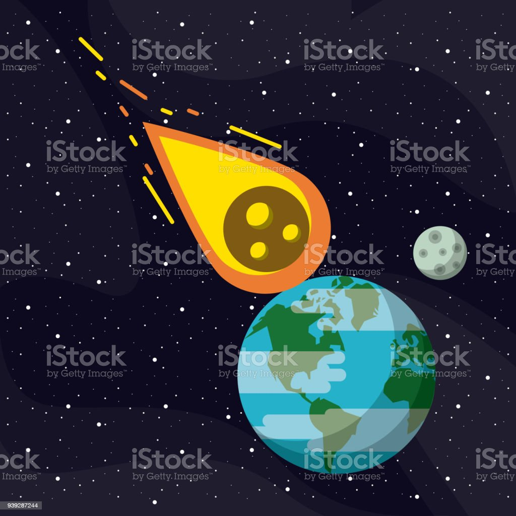 Fliegen Erde Meteor Flying To The Earth In The Space Vector Illustration Graphic