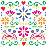 Mexican Folk Art Vector Pattern Colorful Design With ...