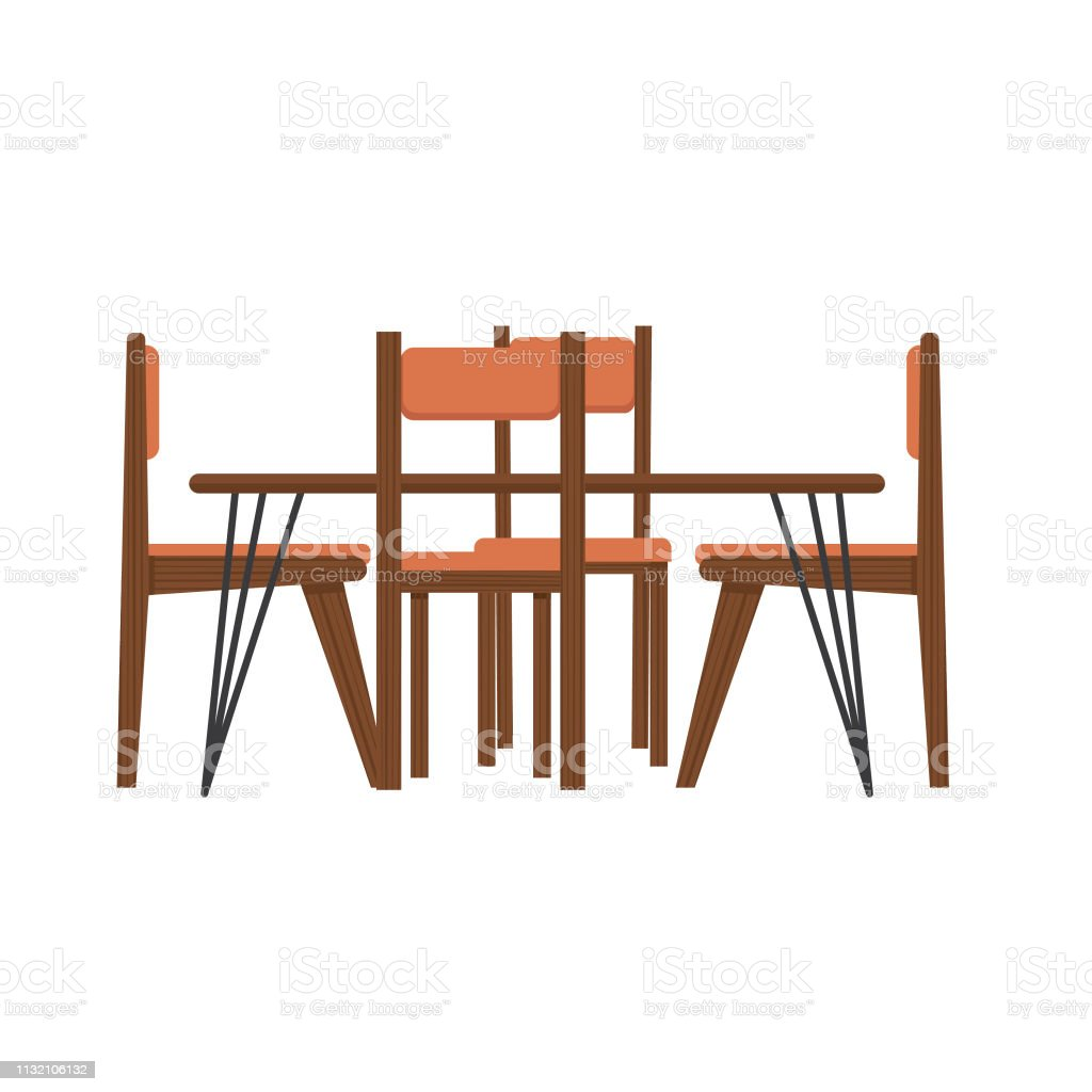 Modern Table And Chairs Midcentury Modern Table And Chairs Stock Vector Art More Images