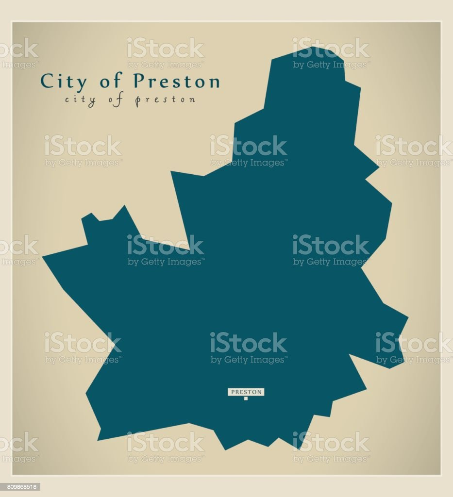 Preston Angleterre Carte Moderne Illustration De La Ville De Preston County