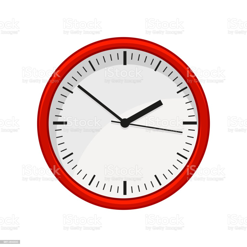 Horloge Design Rouge Modern Round Office Wall Clock In Red Color Time Management Graphic