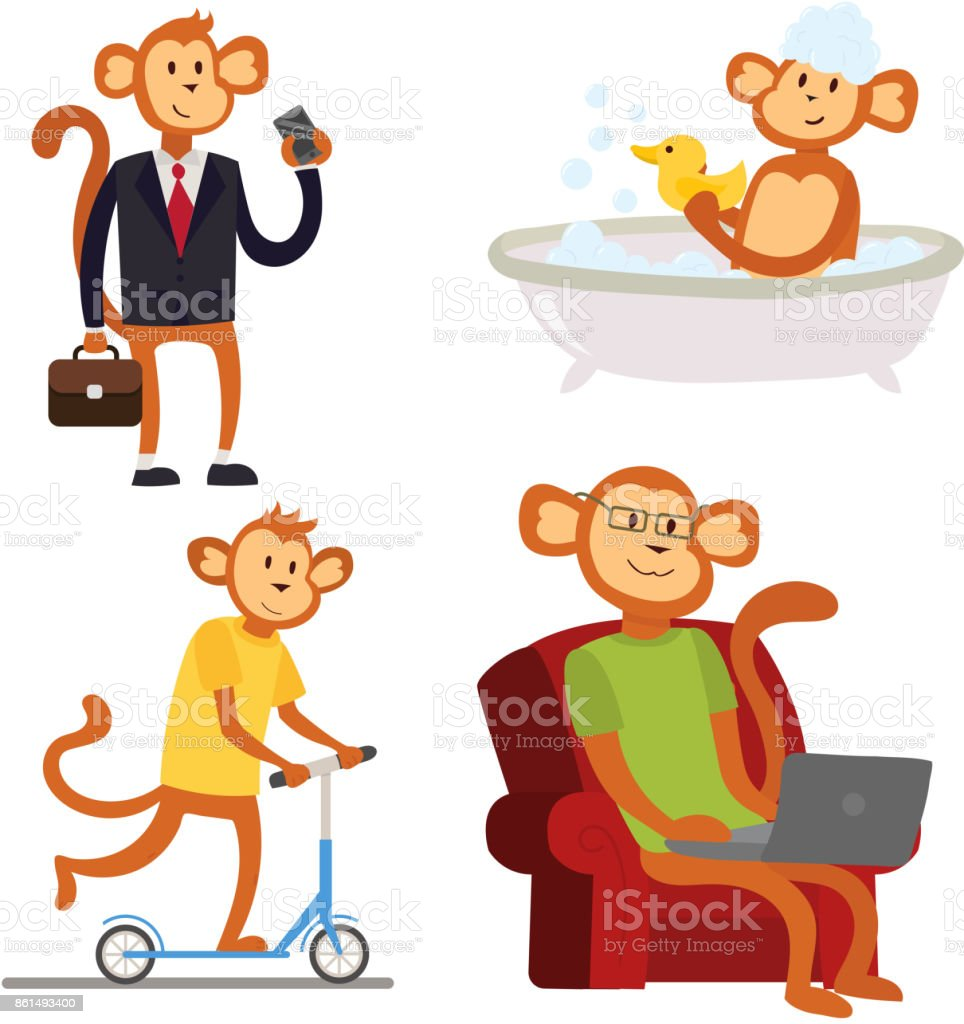 Kinderkostüm Affe Monkey Cartoon Businessman Suit Profile Icon Portrait Chimpanzee