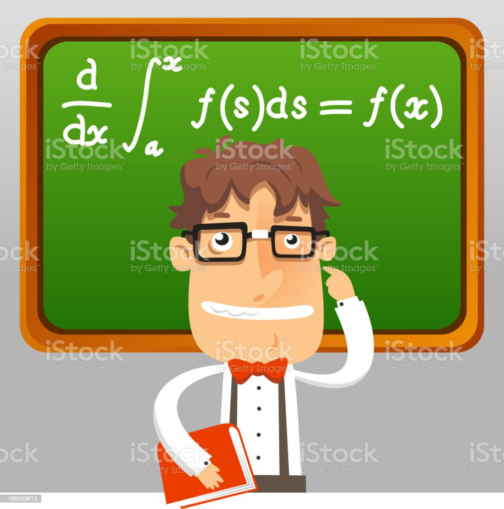 Teaching Maths Nerd Teacher Math Geek Holding Book Teaching Maths Formula Stock