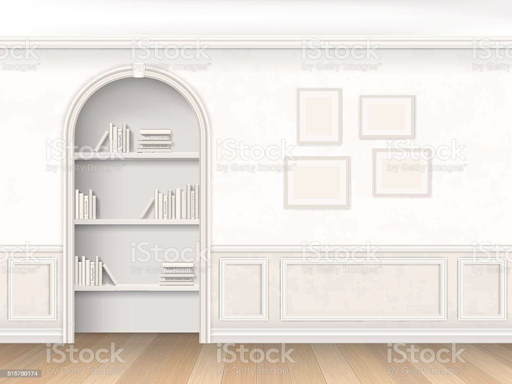Mensole Wooden Art Niche With Books On Shelves Stock Vector Art More Images Of