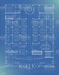 Office Building Plan Blueprint Entrance Floor Stock Vector ...