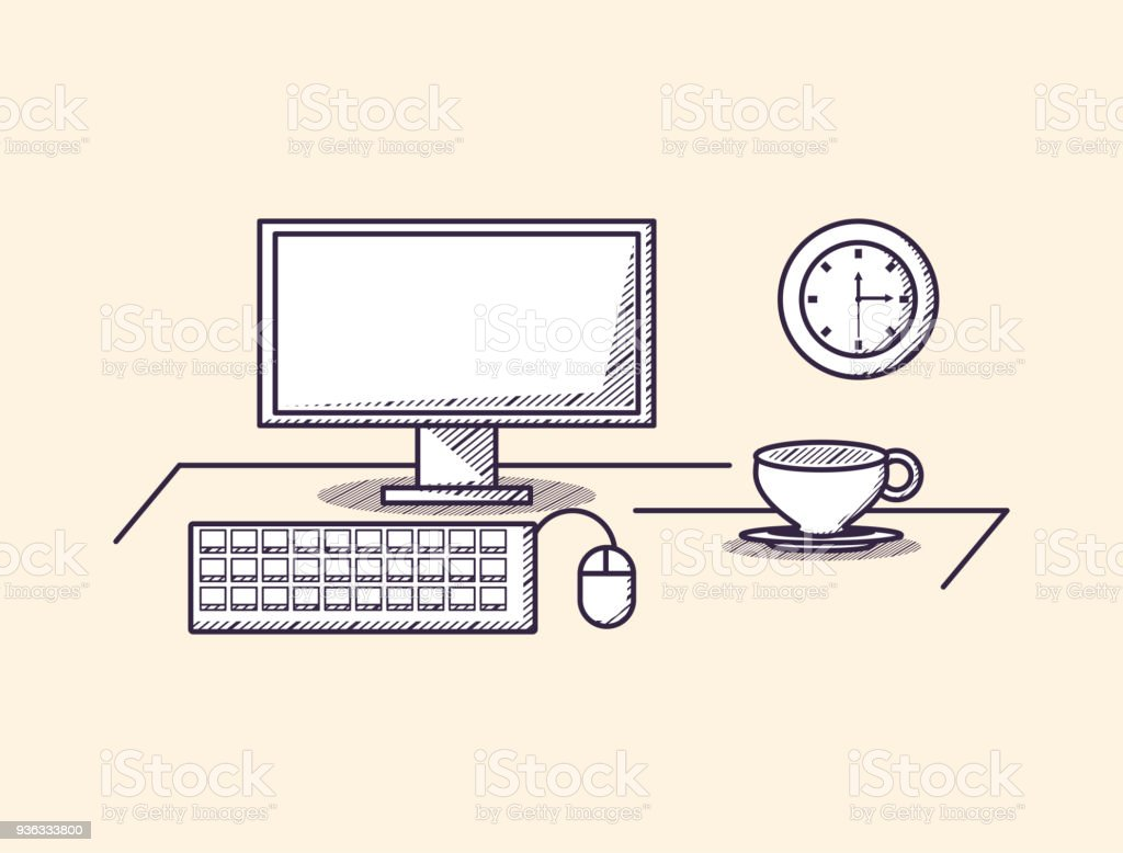 Accessoire Bureau Design Computer With Clock And Mouse Over Orange Background Sketch Design