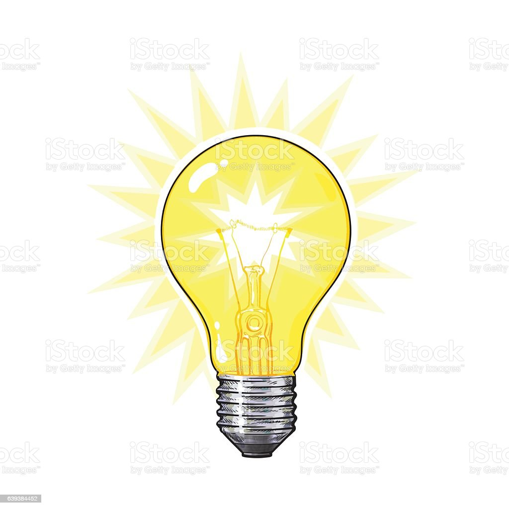 Old Fashioned Glowing Tungsten Light Bulb Side View Vector