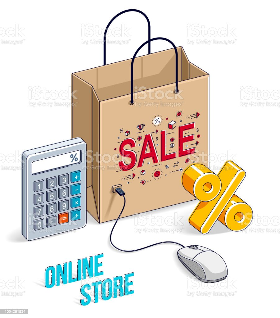 Design Online Shop Online Shopping Concept Web Store Internet Sales Shop Bag With Pc
