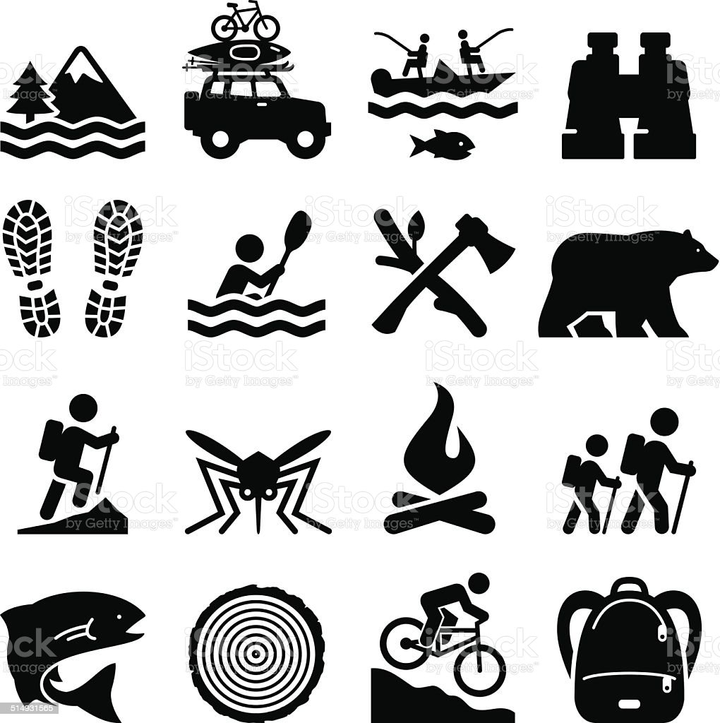 outdoor recreation icons black series stock vector art auto