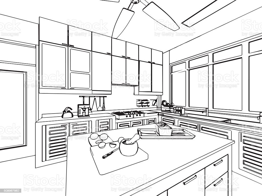 Cuisine De Reference English Outline Sketch Drawing Interior Perspective Of House Stock