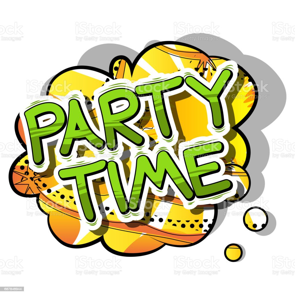 Party Time Comic Book Style Word On Abstract Background