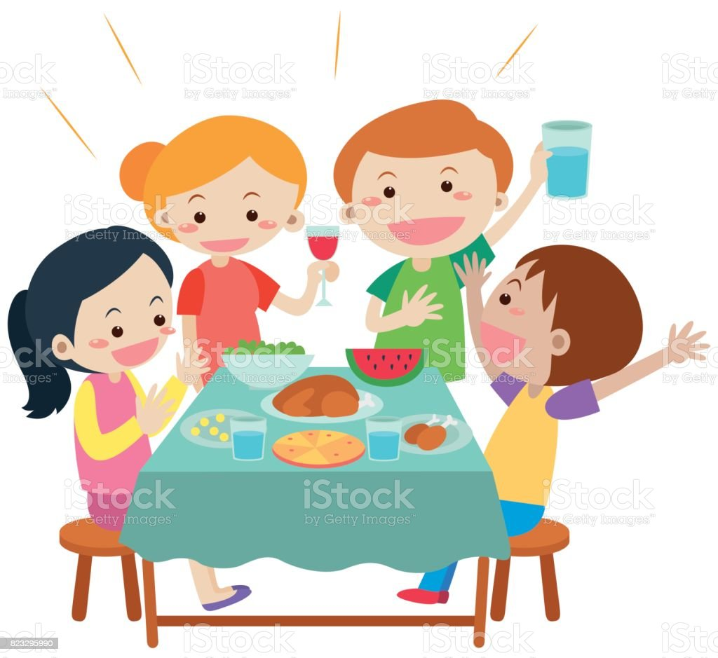 Esstisch Clipart People Having Meal At Dining Table Stock Vector Art And More