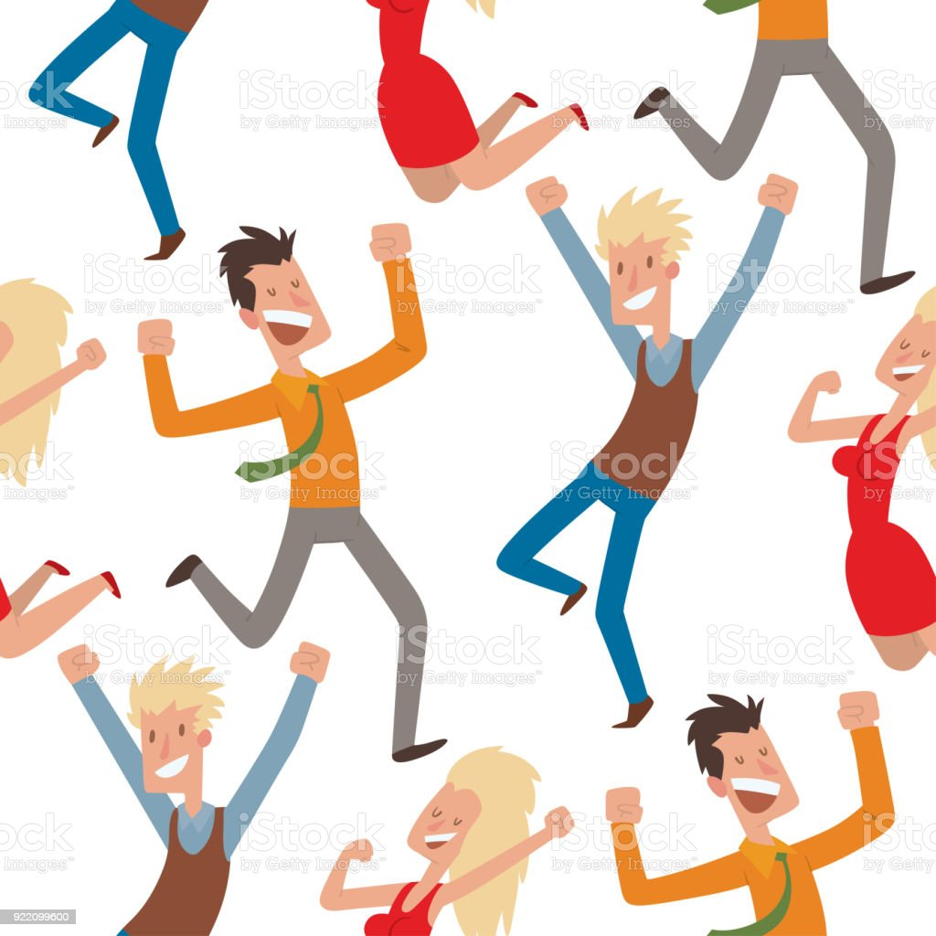 Feier Party People Jumping In Celebration Party Vector Illustration Happy Man